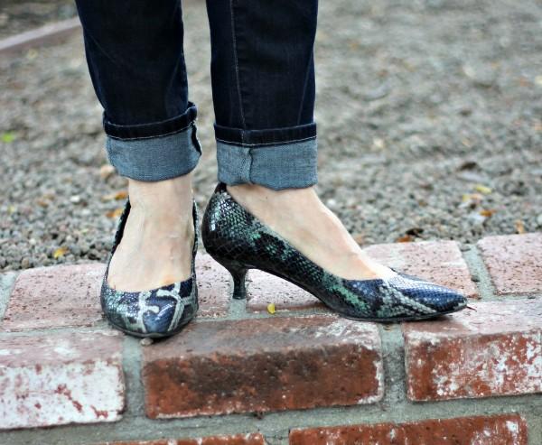 Stuart Weitzman Poco, kitten heels, snake print pumps