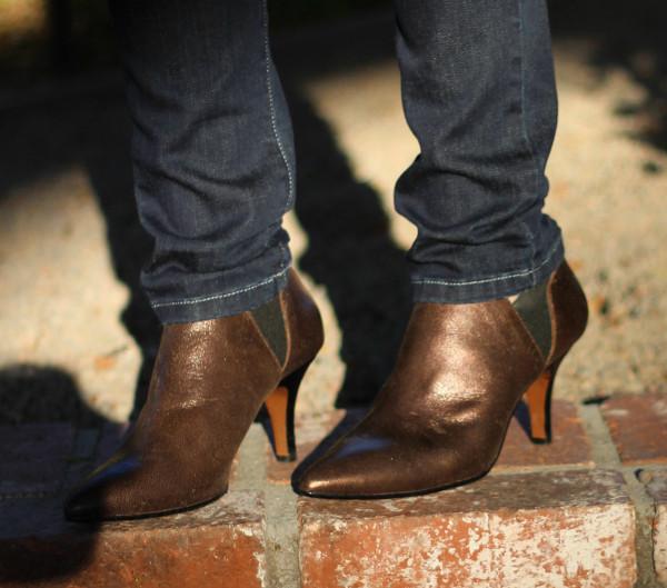 Donald J. Pliner booties, metallic booties, pointed toe booties