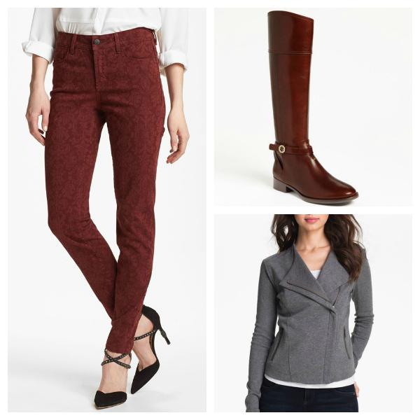 Nordstrom Sale, Tory Burch riding boots, NYDJ, skinny jeans, moto jacket, fall 2013, oxblood