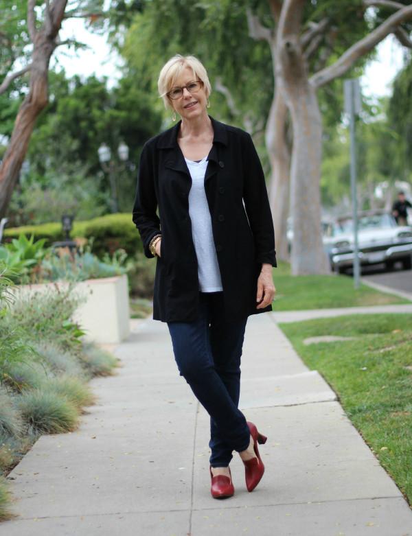 Eileen Fisher jacket, skinny jeans, metallic top, Fluevog Davis shoes, high heeled loafers