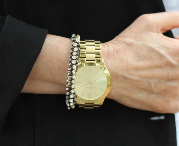 Michael Kors slim runway watch, Stella and Dot bracelet
