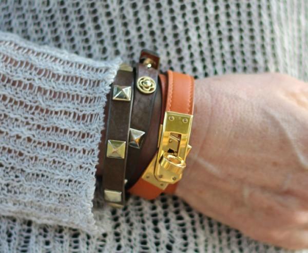 Hermès Kelly Double Tour leather bracelet, Stella and Dot pyramid stud leather bracelet
