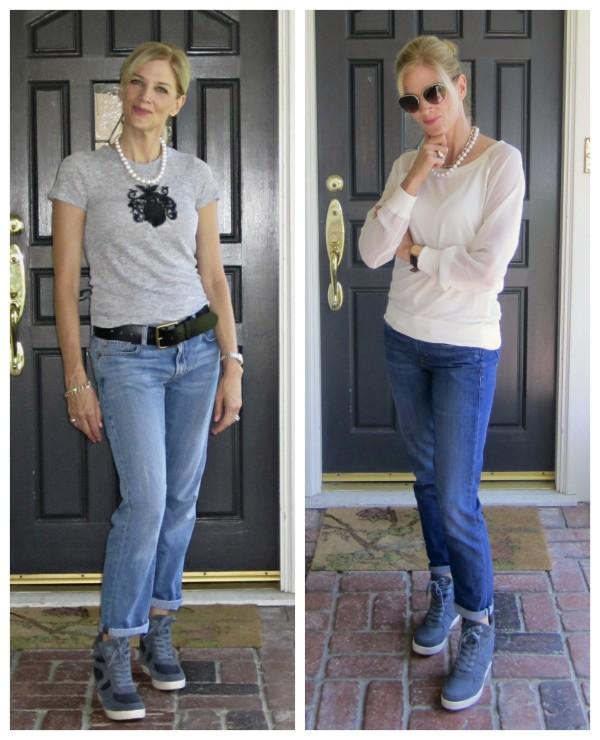 Steve Madden wedge sneakers, wedge sneakers on women 40+, posh sweatshirt, pearls with casual outfit