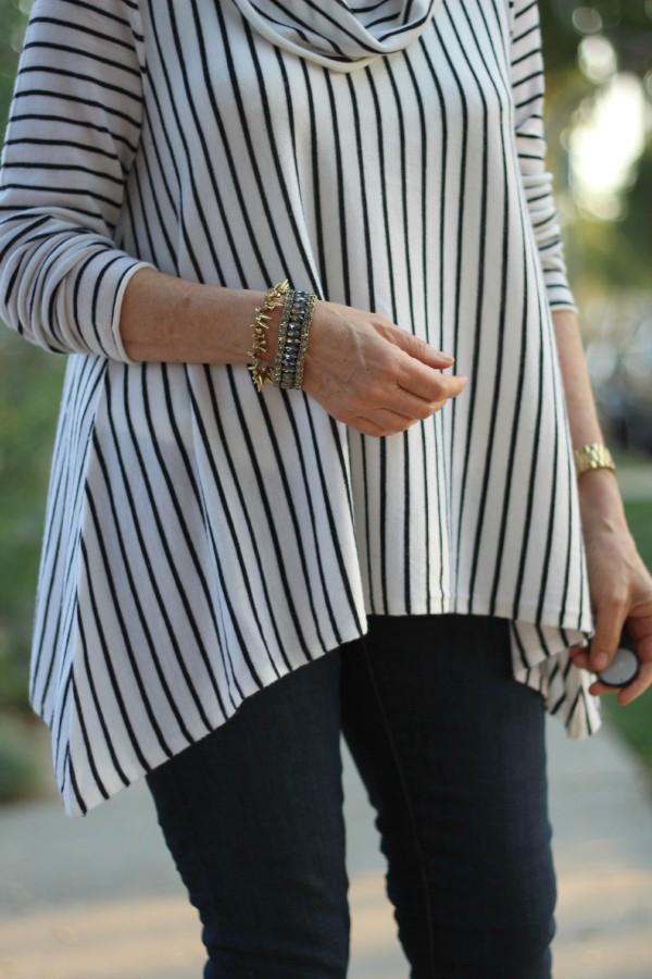 striped sweater, cowl neck sweater, J.Crew bracelet