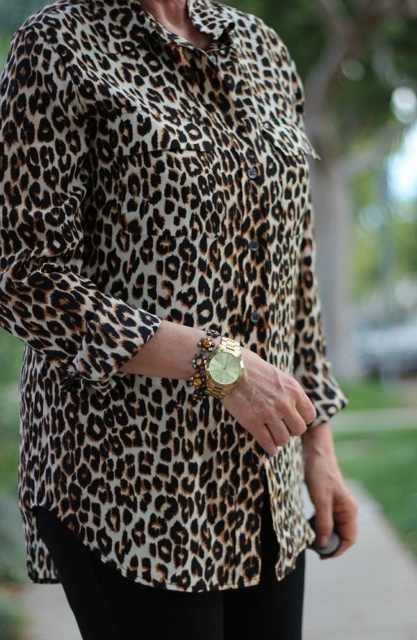 silk shirt, skinny black pants, leopard print top