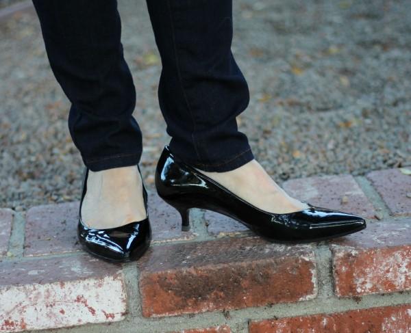 patent pumps, kitten heels