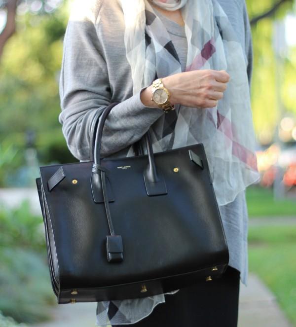 Saint Laurent tote, Burberry accessories