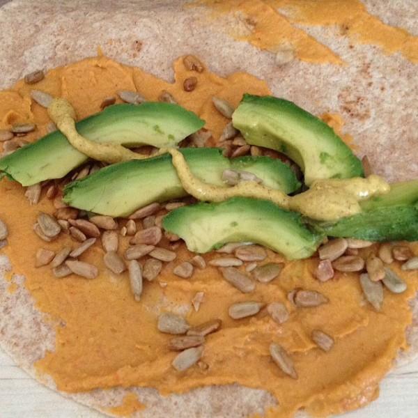 hummus, sunflower seeds, avocado