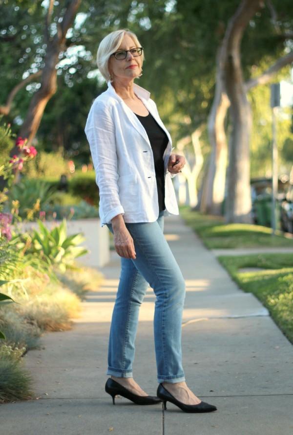 White jacket + light wash jeans