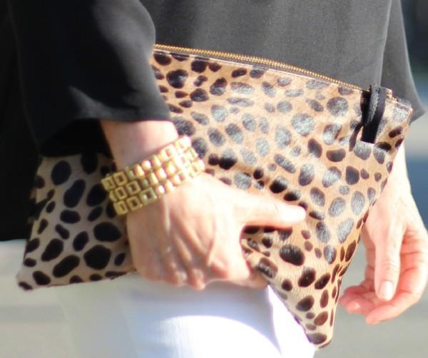 Clare V leopard clutch bag, Metal Pointu's bracelet