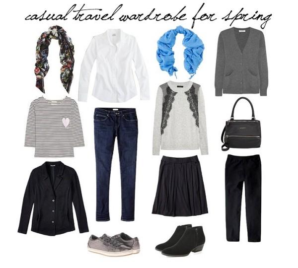 casual travel wardrobe spring