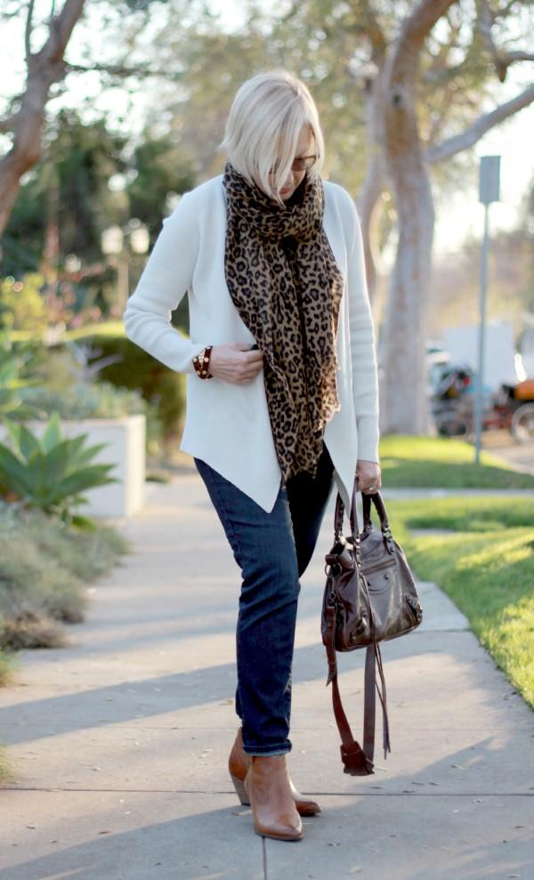 Balenciaga bag, Eileen Fisher cardigan, Frye boots