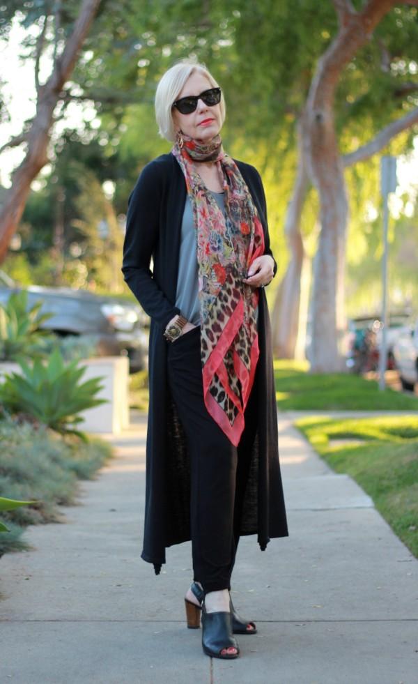 Eileen Fisher long cardigan, Alexander McQueen scarf