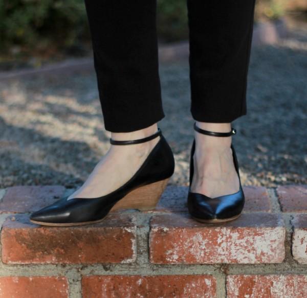Frame denim, ankle strap wedges