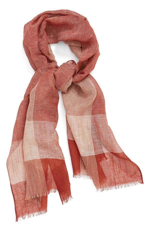 linen plaid scarf