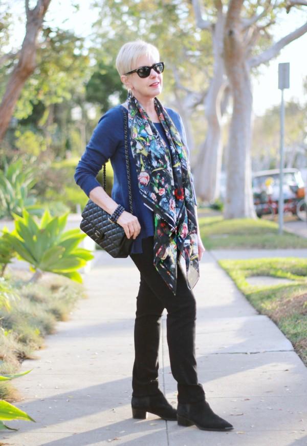 McQ scarf, Chanel caviar flap