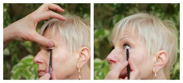 applying eyeliner, tightlining