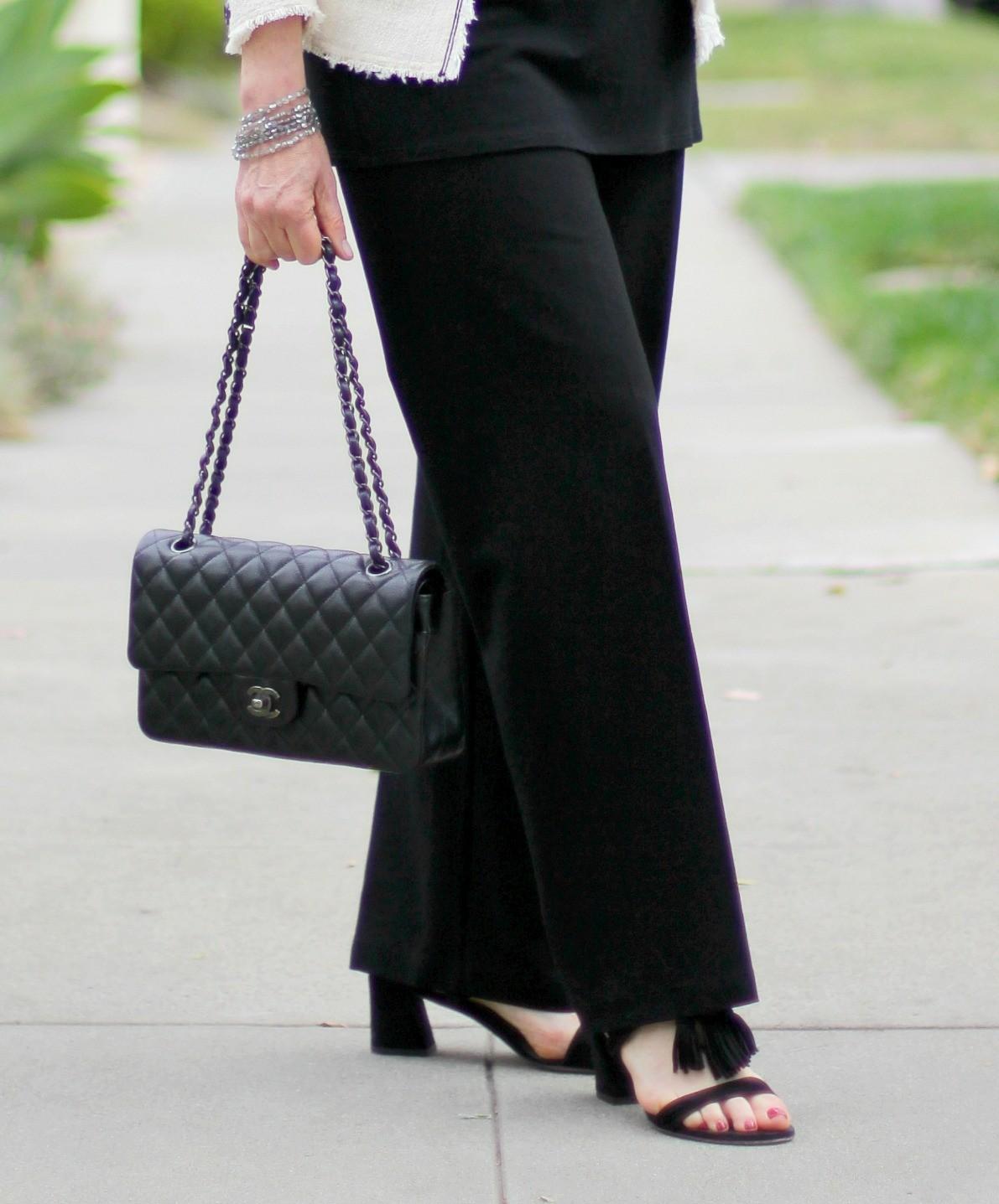 Chanel caviar flap, tassel suede block heel sandals