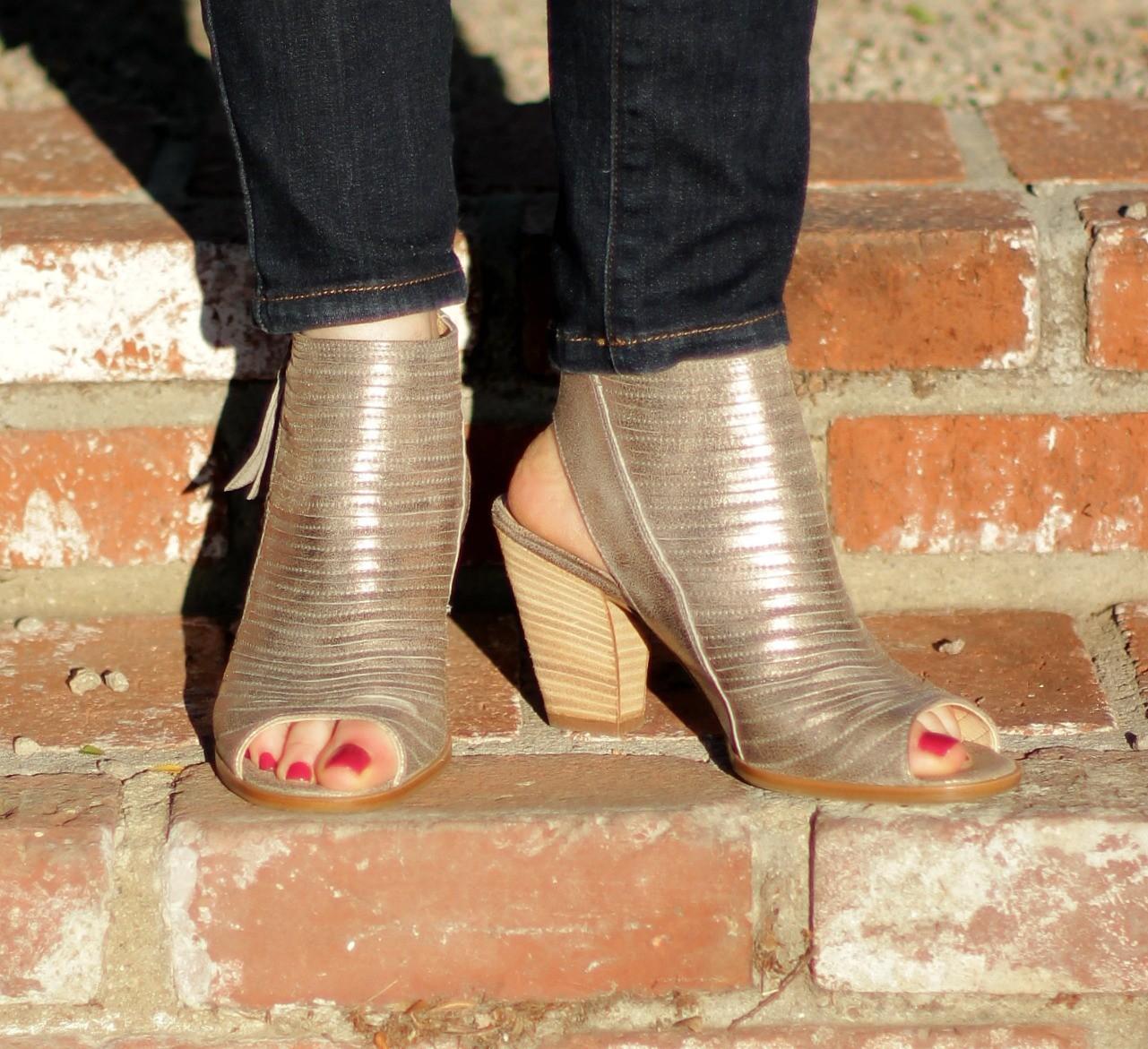 metallic open toe booties
