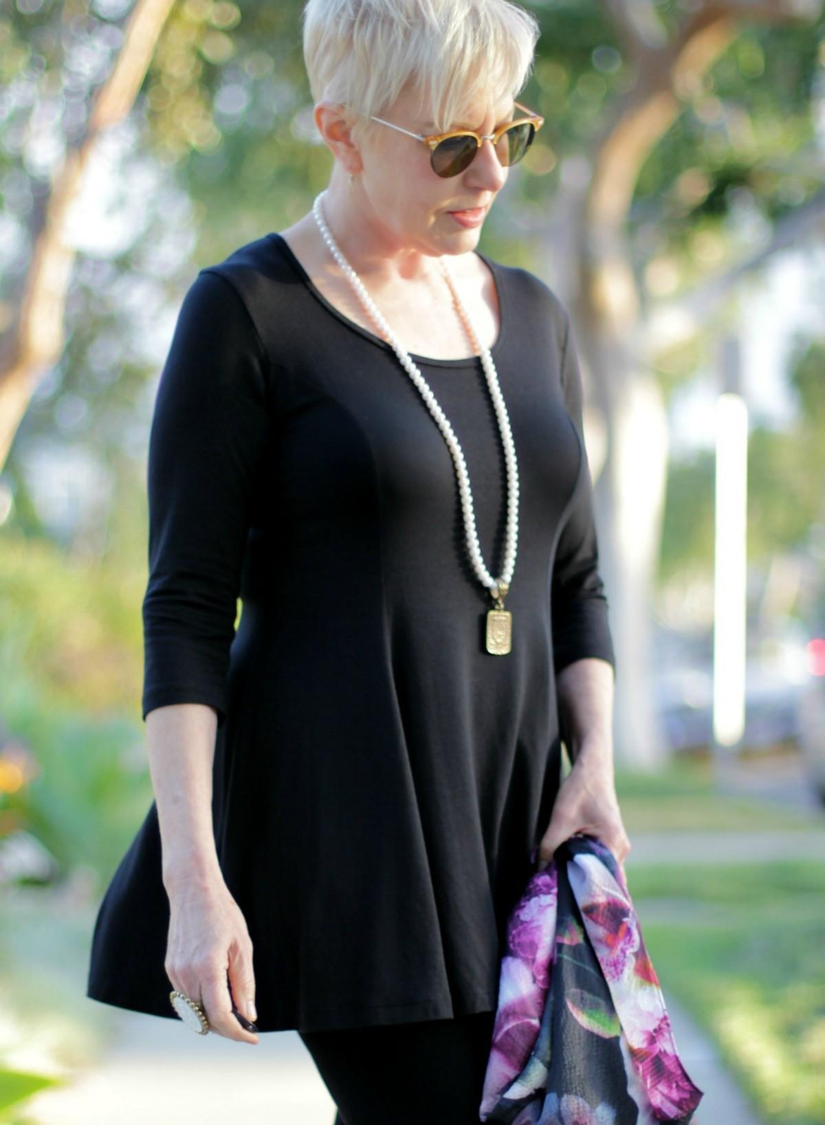 black knit modal top