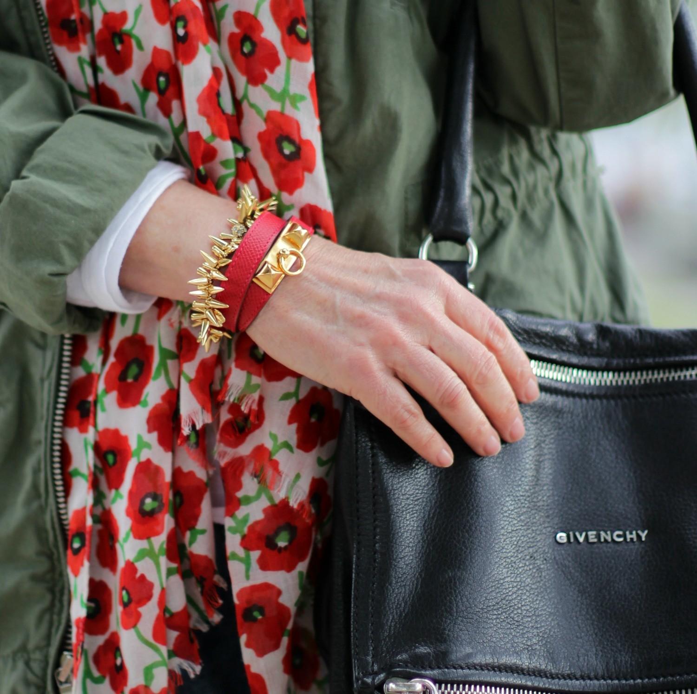 Hermès Rivale bracelet, Givenchy Pandora bag