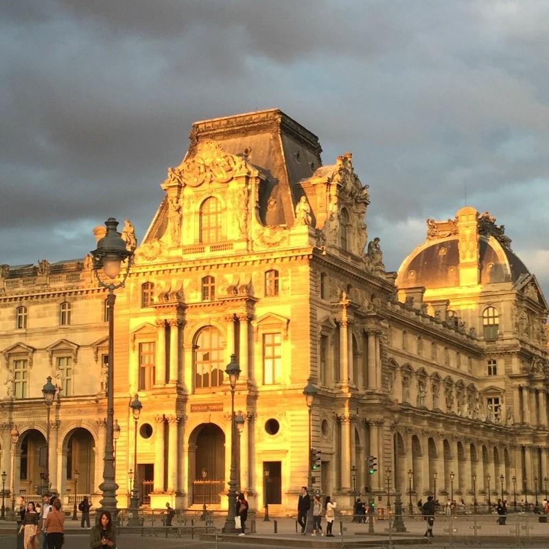 Paris Louvre Museum at sunset