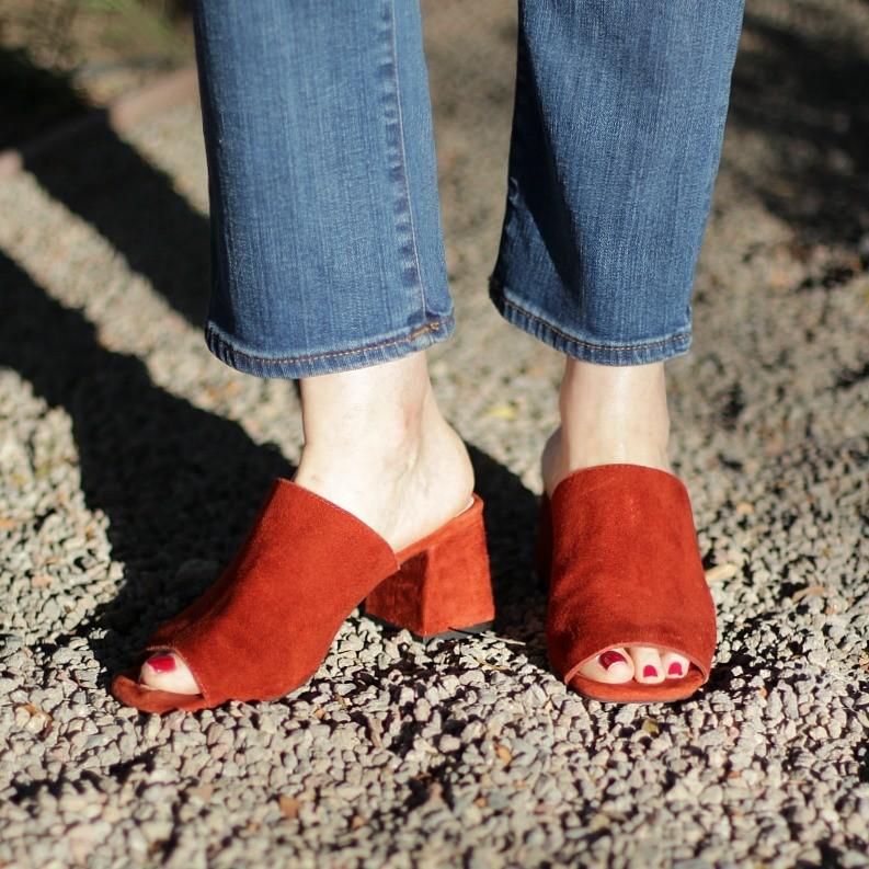 block heel suede mules