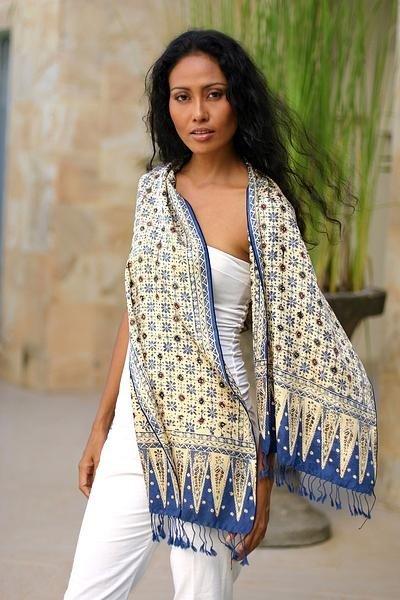 Blue Jasmine silk batik scarf