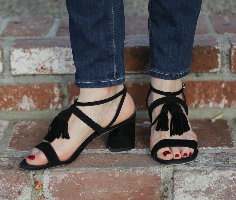 Stuart Weitzman suede tassel sandals
