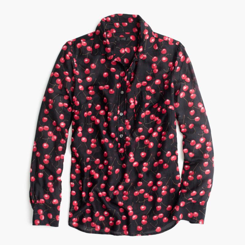 J.Crew silk-cotton shirt in cherry print
