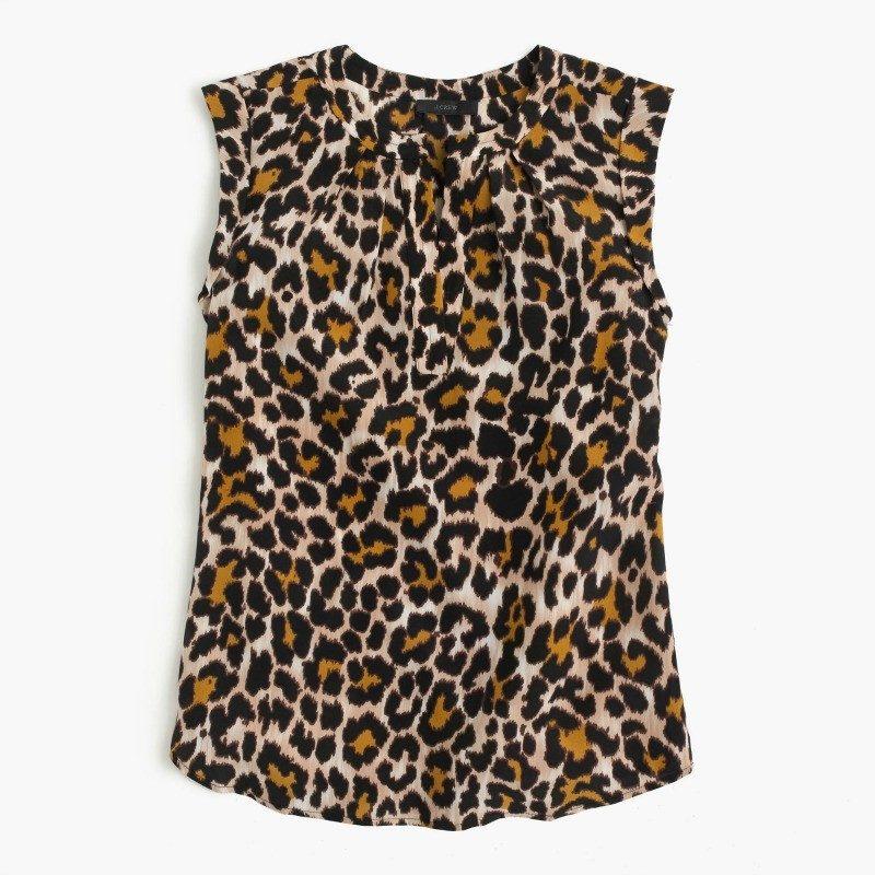 J. Crew silk leopard top