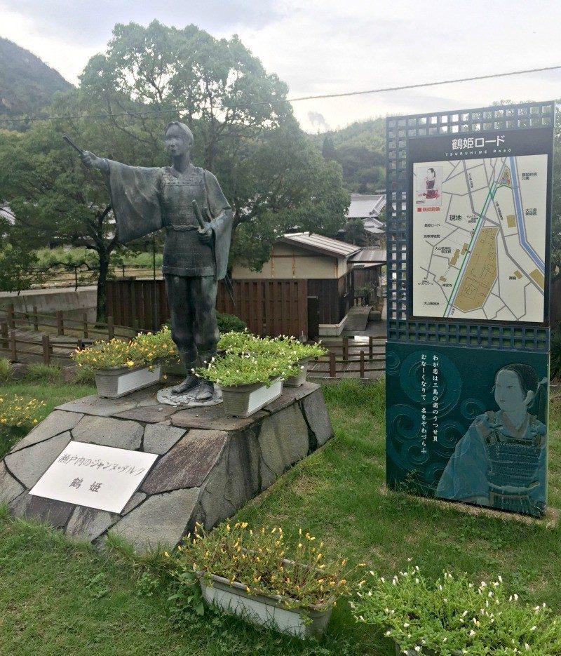 Tsuruhime statue on Omishima island Japan