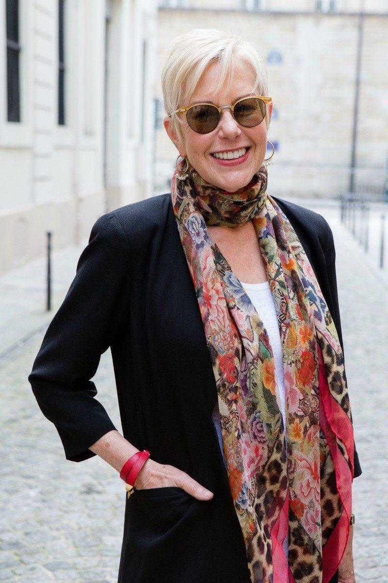 Alexander McQueen scarf, Hermès bracelet