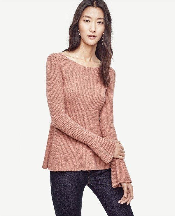 bell sleeve peplum sweater