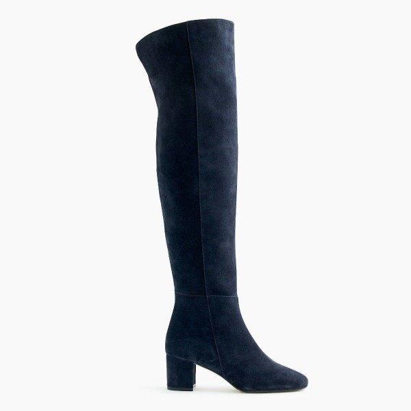 navy suede OTK boots