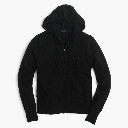 zipped cashmere hoodie