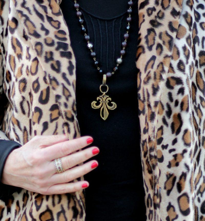 French Kande fleur de lis garnet necklace