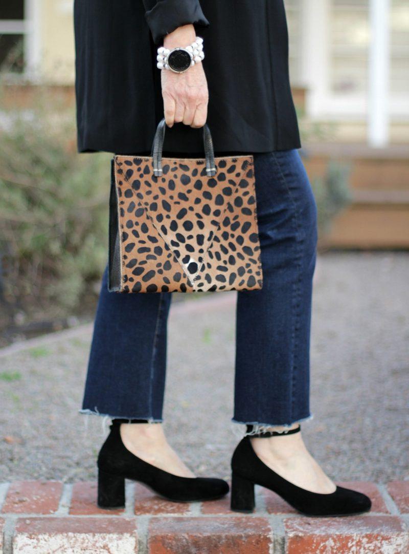small leopard tote
