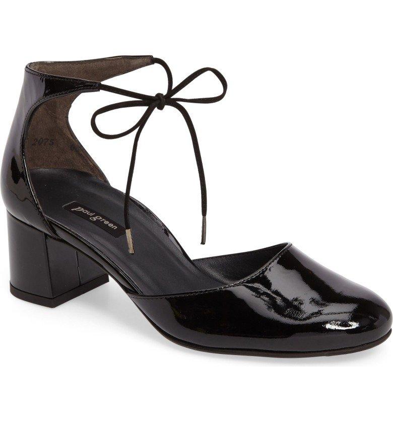 ankle tie mid-heel pump