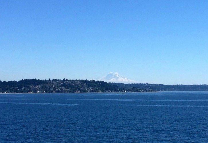 Mt. Rainier in the distance as seen from the Bainbridge Island Ferry in Seattle