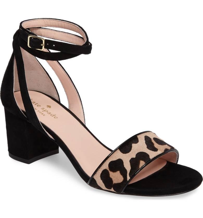 kate spade block heel sandal with leopard print. Details at une femme d'un certain age.