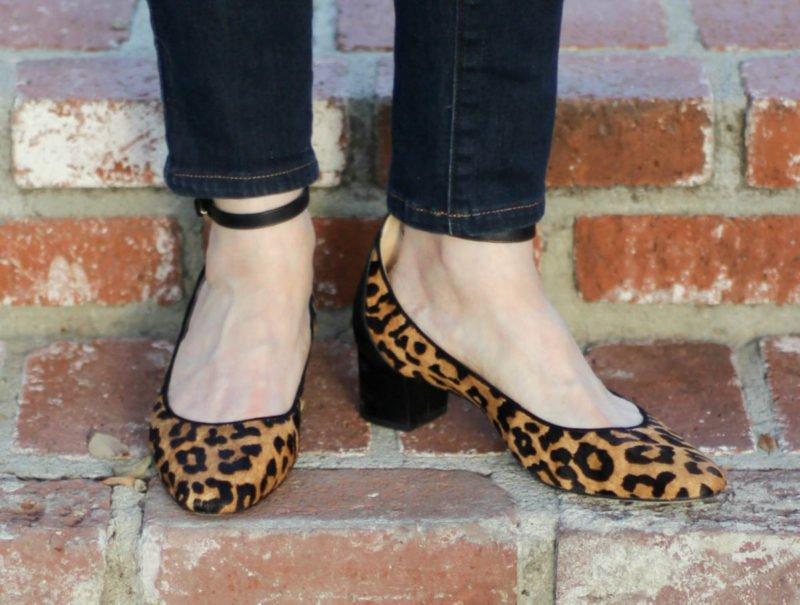 Details: style blogger Susan B. wears Sam Edelman leopard print pumps.