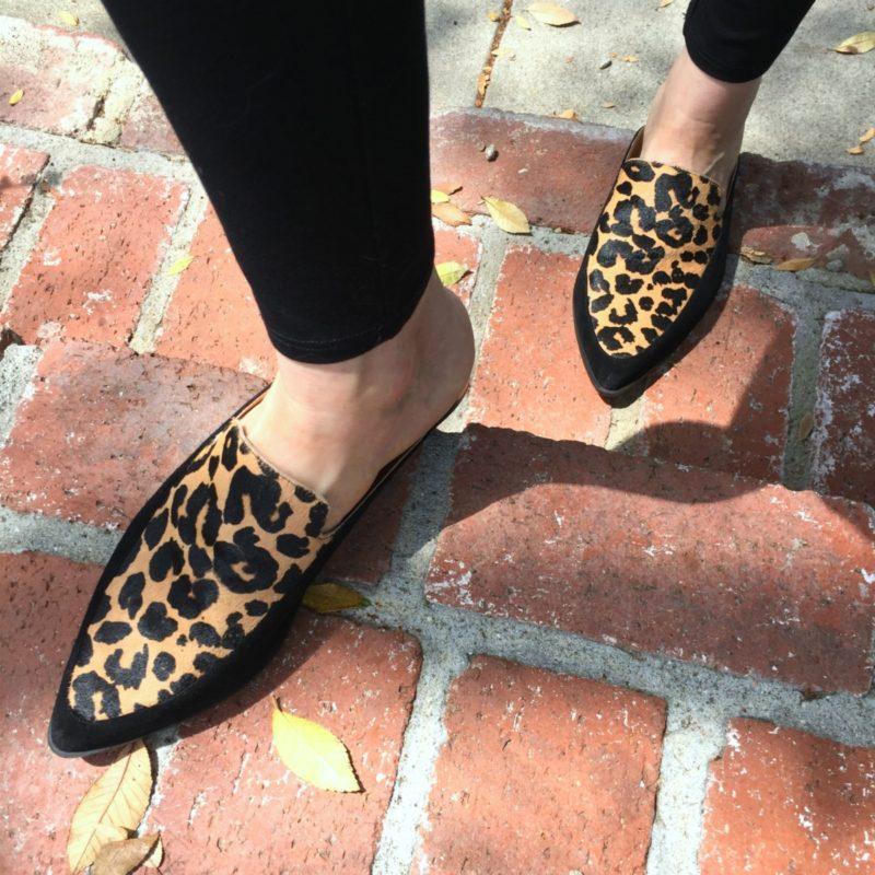 Detail: style blogger Susan B. wears Halogen leopard print mules. Details at une femme d'un certain age.