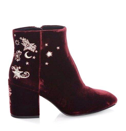 Ash bordeaux velvet boots. Details at une femme d'un certain age.