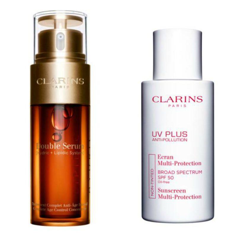 Clarins Double Serum and UV Plus sunscreen. Details at une femme d'un certain age.