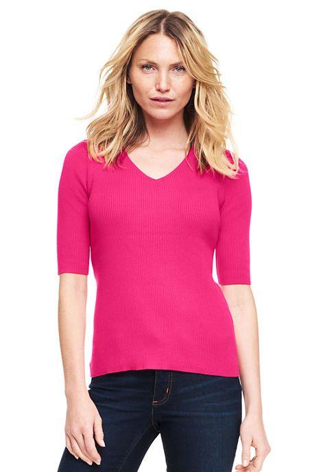 Lands' End v-neck cotton layering sweater. Details at une femme d'un certain age.