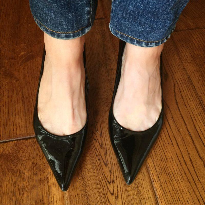 Detail: Stuart Weitzman black patent kitten heel pumps. Details at une femme d'un certain age.