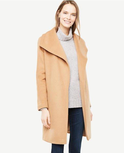 Ann Taylor camel wrap coat. Details at une femme d'un certain age.