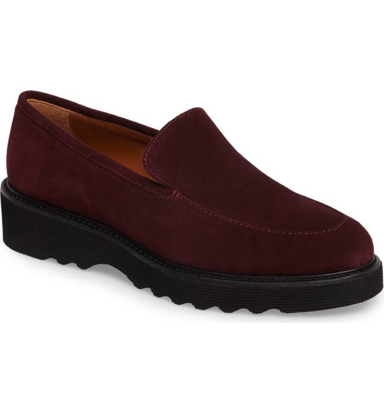 Weather resistant lug sole loafer from Aquatalia. Details at une femme d'un certain age.