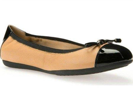Tan and black cap-toe ballet flat